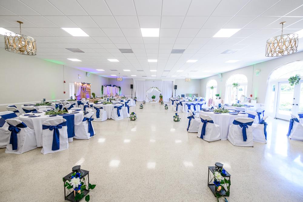 Blue, green and gold reception, The Garden Center, Pensacola Garden Wedding, Lazzat Photography, Florida wedding photographer photography
