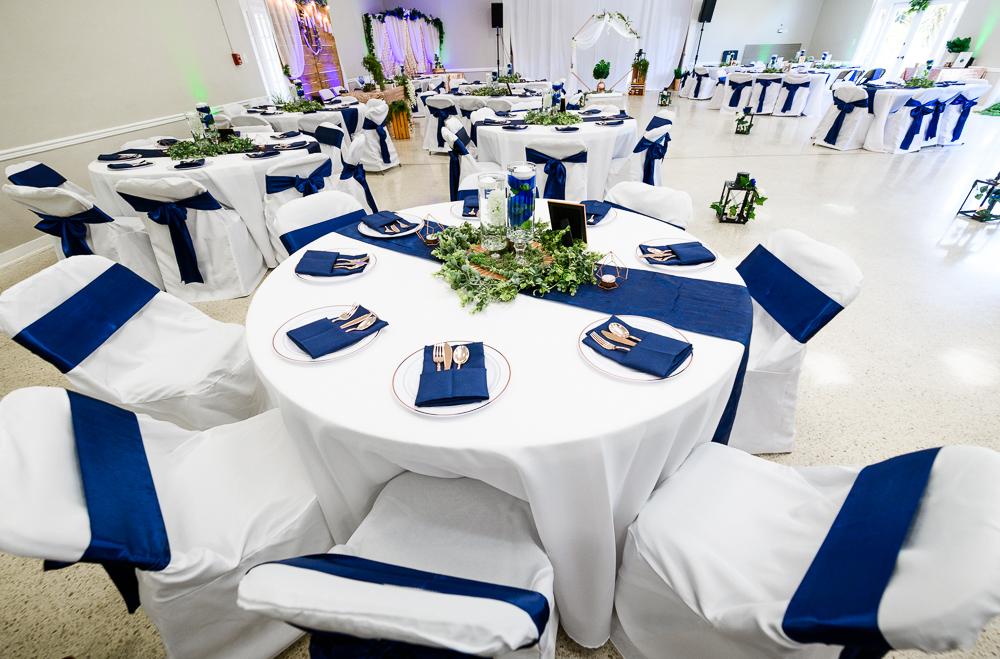 Blue, green and gold reception tables, The Garden Center, Pensacola Garden Wedding, Lazzat Photography, Florida wedding photographer photography