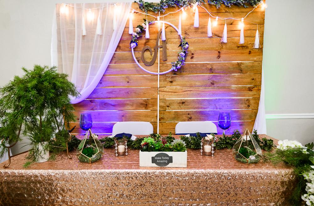Blue, green and gold sweetheart table, The Garden Center, Pensacola Garden Wedding, Lazzat Photography, Florida wedding photographer photography