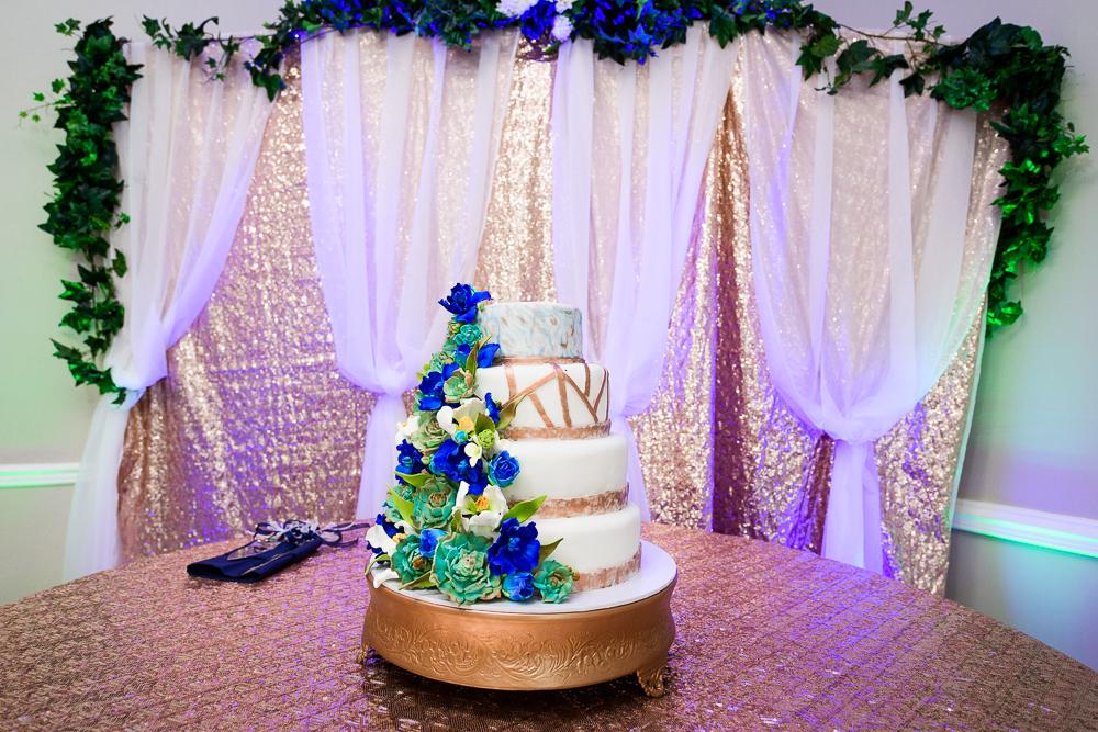 Blue, green and gold wedding cake, The Garden Center, Pensacola Garden Wedding, Lazzat Photography, Florida wedding photographer photography