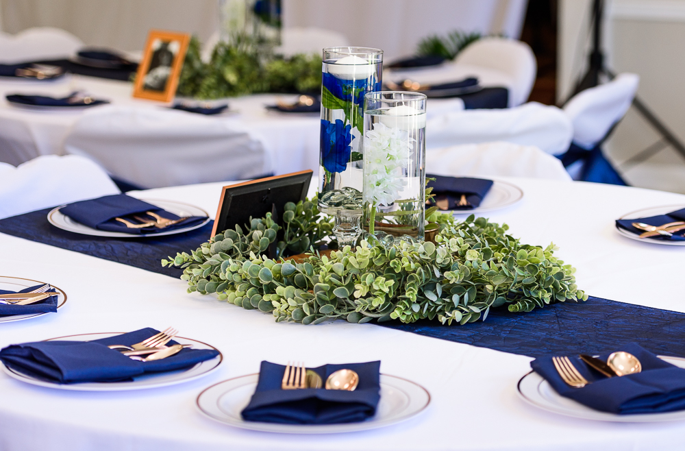 Floating candles and greenery centerpiece, blue and green wedding, The Garden Center, Pensacola Garden Wedding, Lazzat Photography, Florida wedding photographer photography