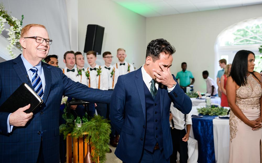 Groom crying when he sees his Bride, The Garden Center, Pensacola Garden Wedding, Lazzat Photography, Florida wedding photographer photography