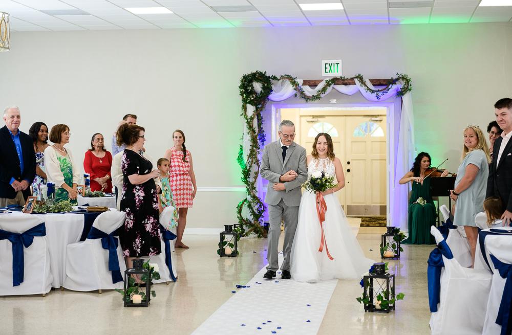 Bride's dad walking her down the aisle, The Garden Center, Pensacola Garden Wedding, Lazzat Photography, Florida wedding photographer photography