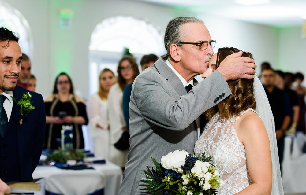 Bride's dad giving her away, The Garden Center, Pensacola Garden Wedding, Lazzat Photography, Florida wedding photographer photography