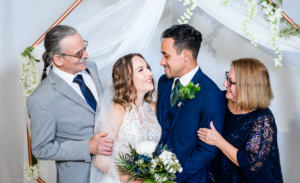 Bride and Groom with Bride's parents, The Garden Center, Pensacola Garden Wedding, Lazzat Photography, Florida wedding photographer photography