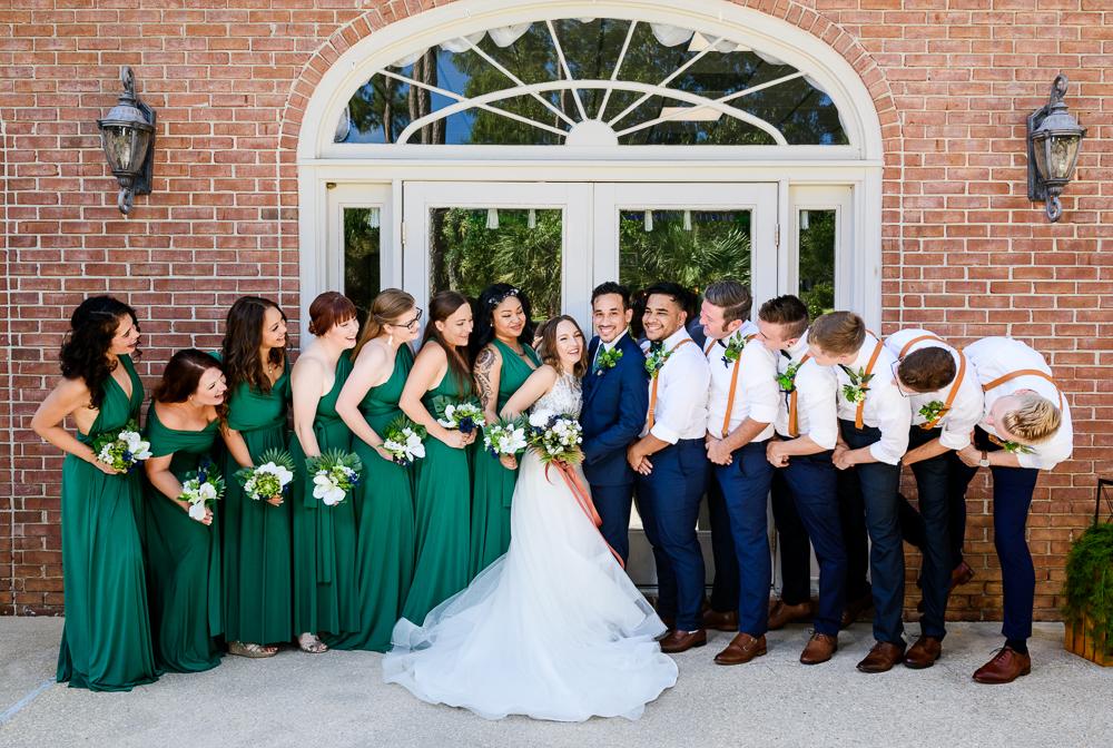 Wedding party looking at Bride and Groom, The Garden Center, Pensacola Garden Wedding, Lazzat Photography, Florida wedding photographer photography