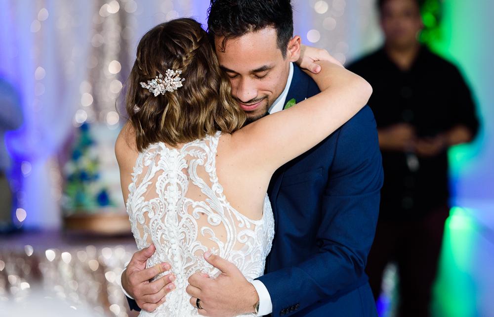 Close up of Bride and Groom's first dance, The Garden Center, Pensacola Garden Wedding, Lazzat Photography, Florida wedding photographer photography