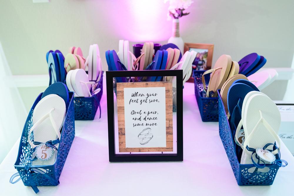 Flip flops for dancing, The Garden Center, Pensacola Garden Wedding, Lazzat Photography, Florida wedding photographer photography