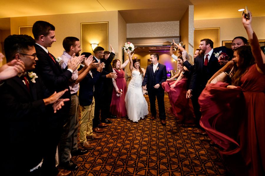 Bride and Groom reception exit, Hilton Garden Inn Pensacola Airport, Pensacola Summer Wedding, Lazzat Photography