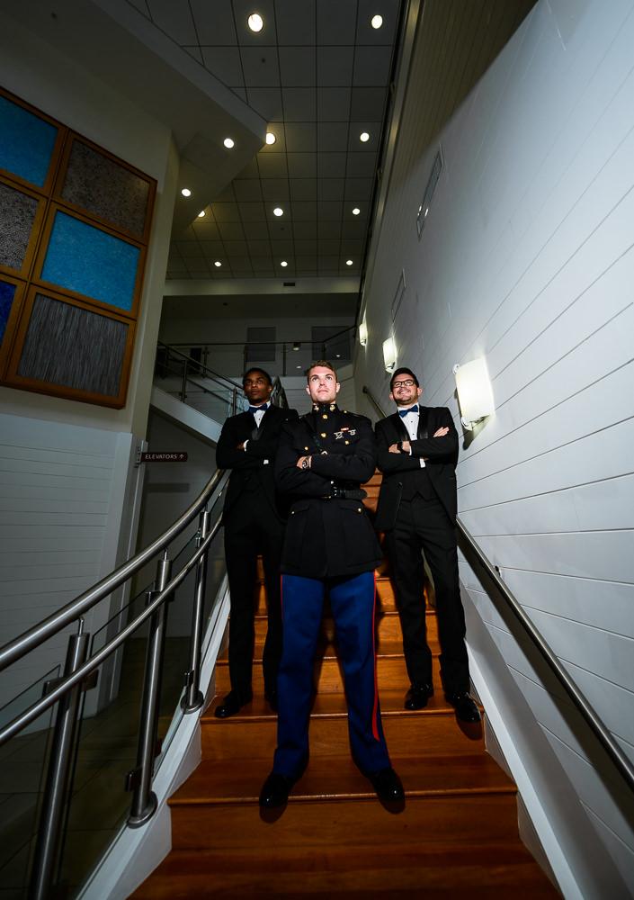 Groom and Groomsmen serious photo on stairs, Pensacola Beach Military Wedding, Hilton Pensacola Beach, Lazzat Photography, Florida Wedding Photography