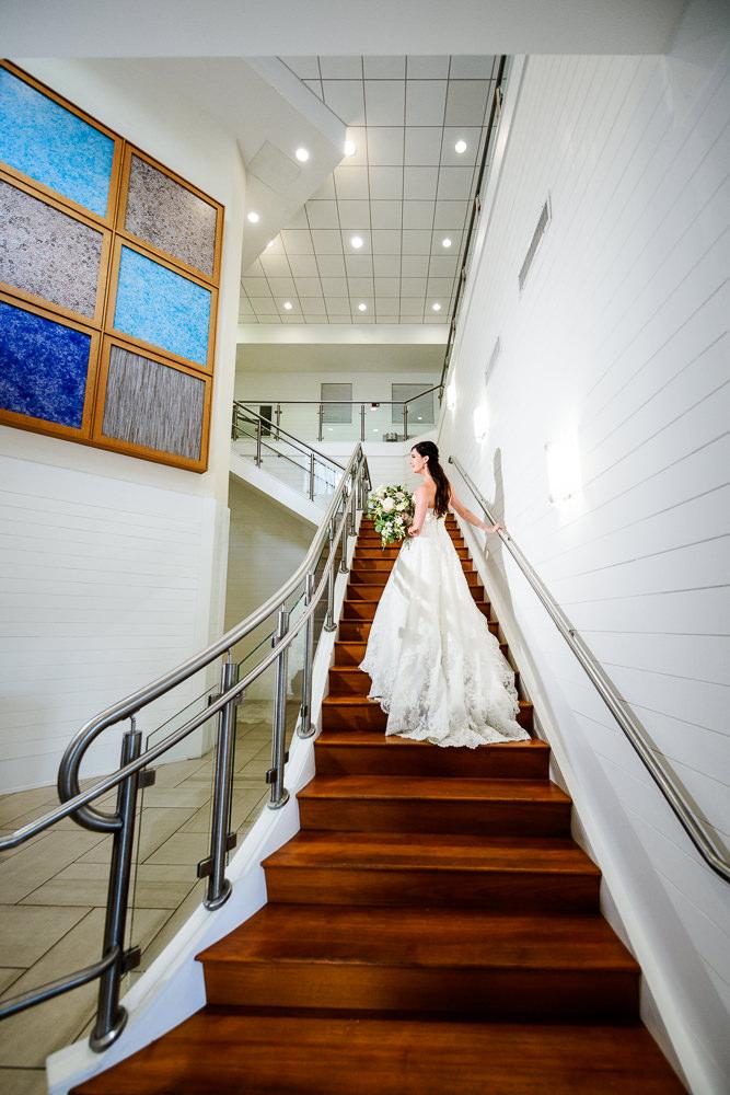 Bridal portrait on the stairs, Pensacola Beach Military Wedding, Hilton Pensacola Beach, Lazzat Photography, Florida Wedding Photography