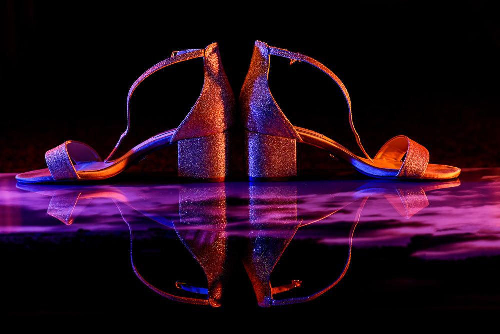 Bride's gold glitter shoes, Blue by Betsey Johnson, Pensacola Beach Military Wedding, Hilton Pensacola Beach, Lazzat Photography, Florida Wedding Photography