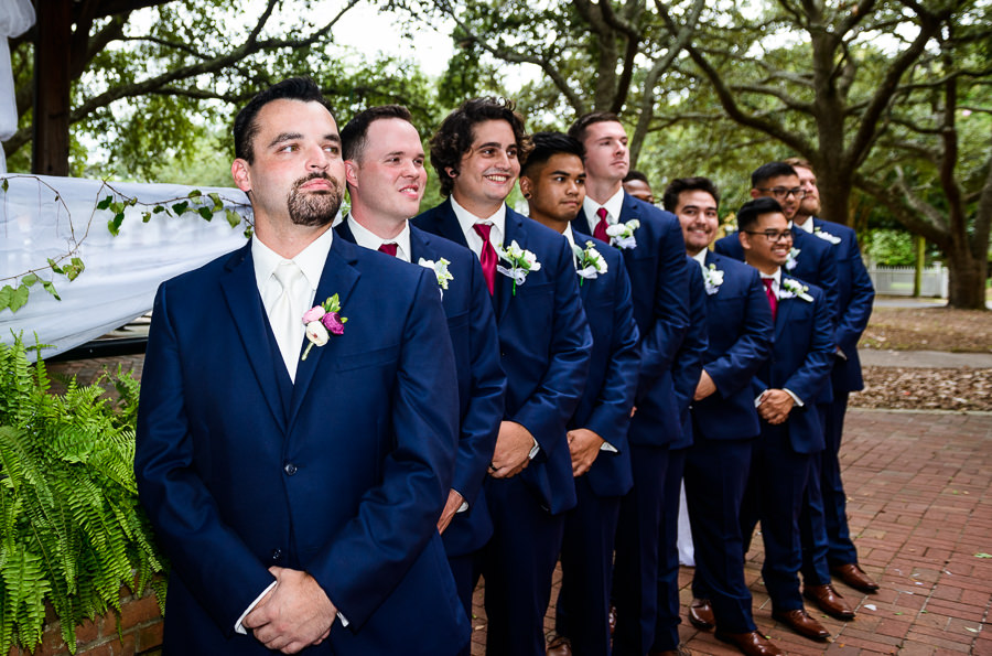 Groom and Groomsmen during the ceremony, blue and pink wedding, seville square, Pensacola Summer Wedding, Lazzat Photography