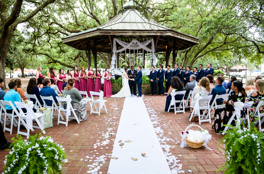 Full wedding ceremony, blue and pink wedding, magenta bridesmaids dresses, seville square, Pensacola Summer Wedding, Lazzat Photography
