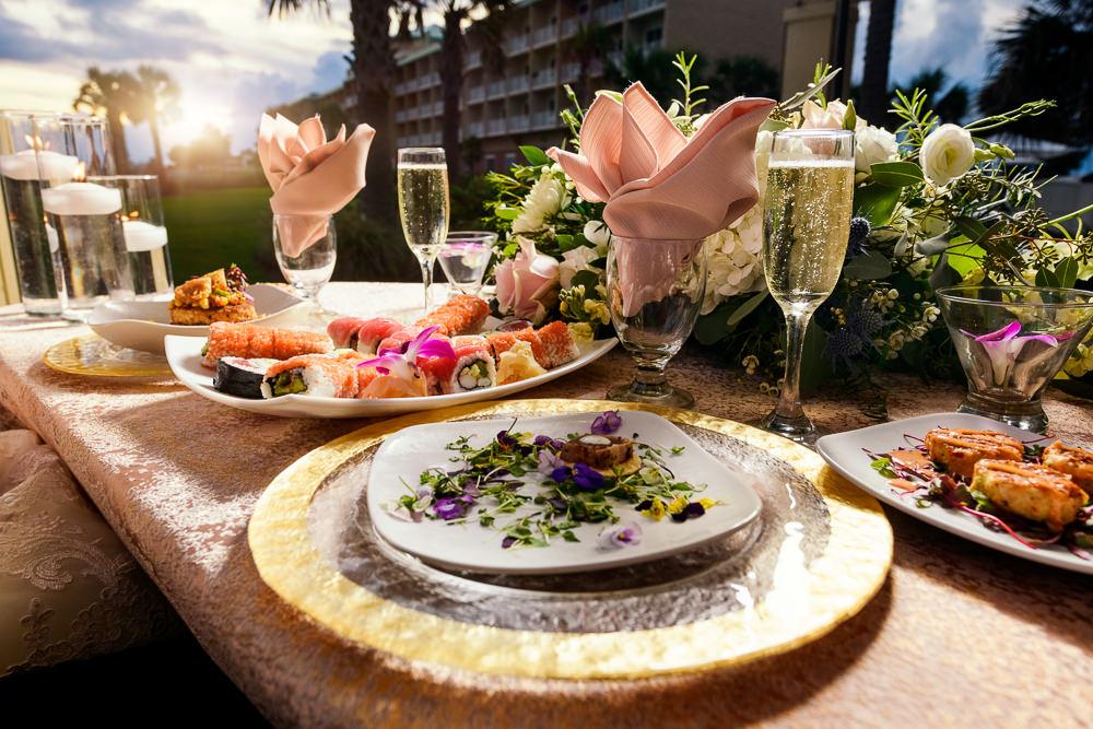 Wedding food, Pensacola Beach Military Wedding, Hilton Pensacola Beach, Lazzat Photography, Florida Wedding Photography