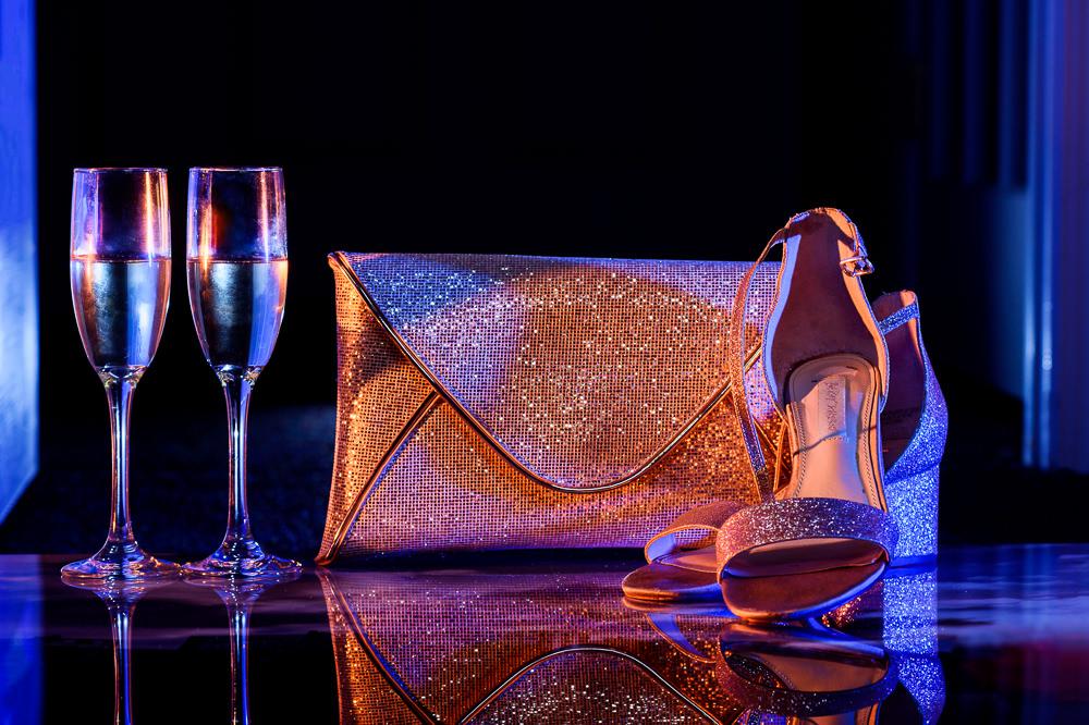 Bride's shoes and glitter clutch, Blue by Betsey Johnson, Pensacola Beach Military Wedding, Hilton Pensacola Beach, Lazzat Photography, Florida Wedding Photography