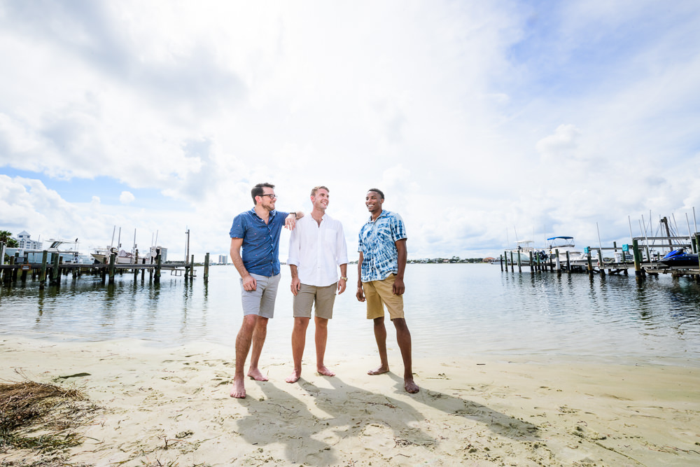 Groom and Groomsmen on the beach, Pensacola Beach Military Wedding, Hilton Pensacola Beach, Lazzat Photography, Florida Wedding Photography