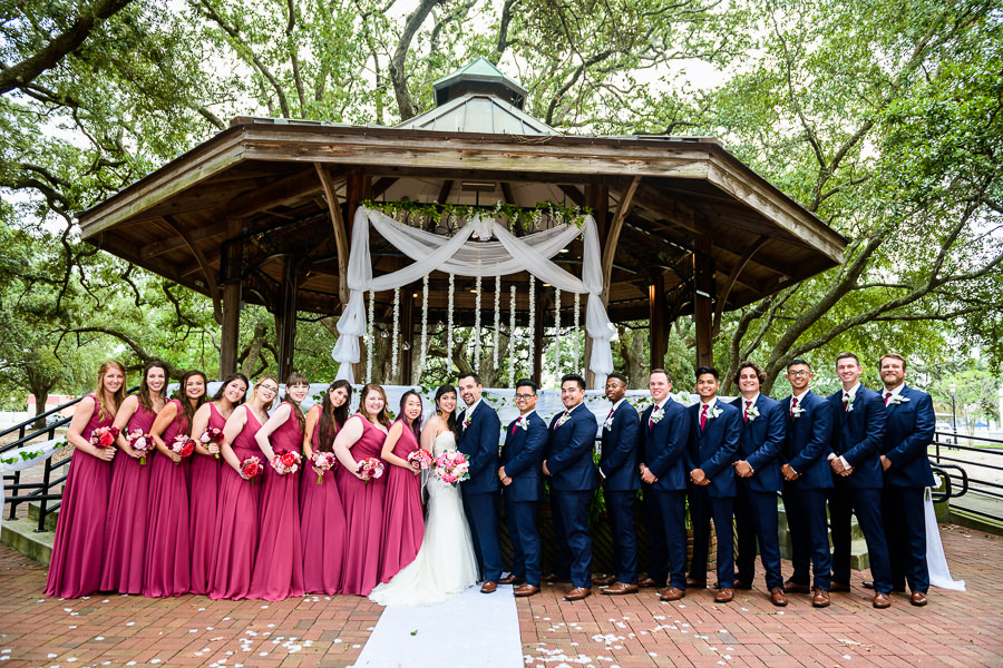 Bride and Groom with wedding party, blue and pink wedding, magenta bridesmaids dresses, seville square, Pensacola Summer Wedding, Lazzat Photography