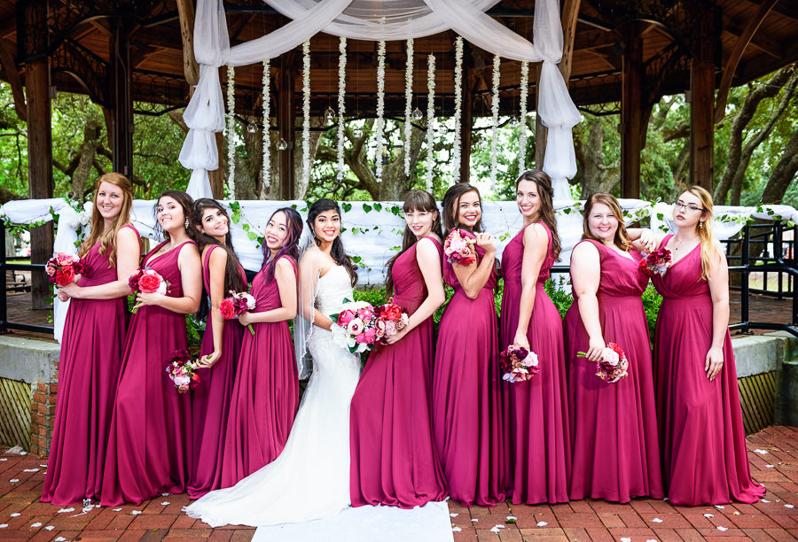 Bride and Bridesmaids cool pose, seville square, Pensacola Summer Wedding, Lazzat Photography