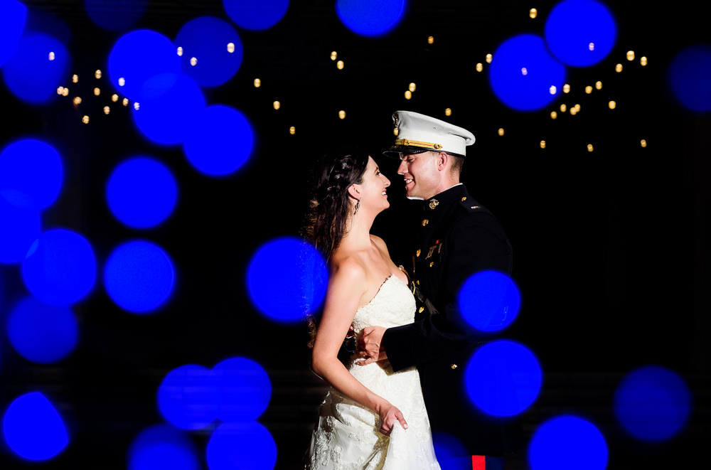 Bride and Groom at night with twinkle lights, Pensacola Beach Military Wedding, Hilton Pensacola Beach, Lazzat Photography, Florida Wedding Photography