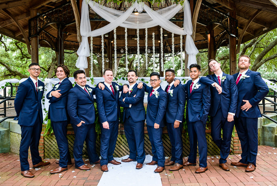 Groom and Groomsmen cool pose, seville square, Pensacola Summer Wedding, Lazzat Photography