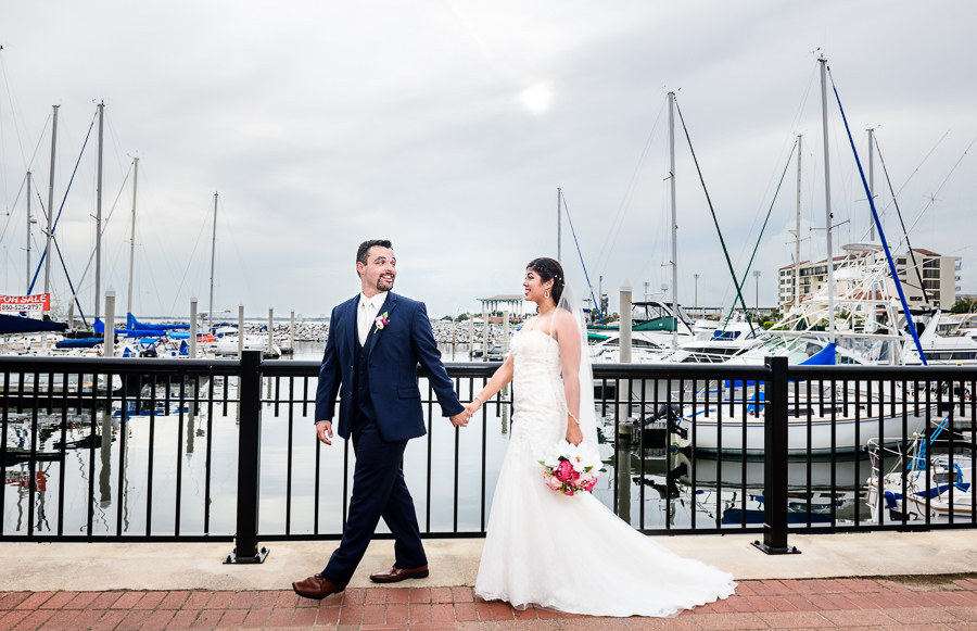 Bride and Groom walking along the water, Pensacola Summer Wedding, Lazzat Photography