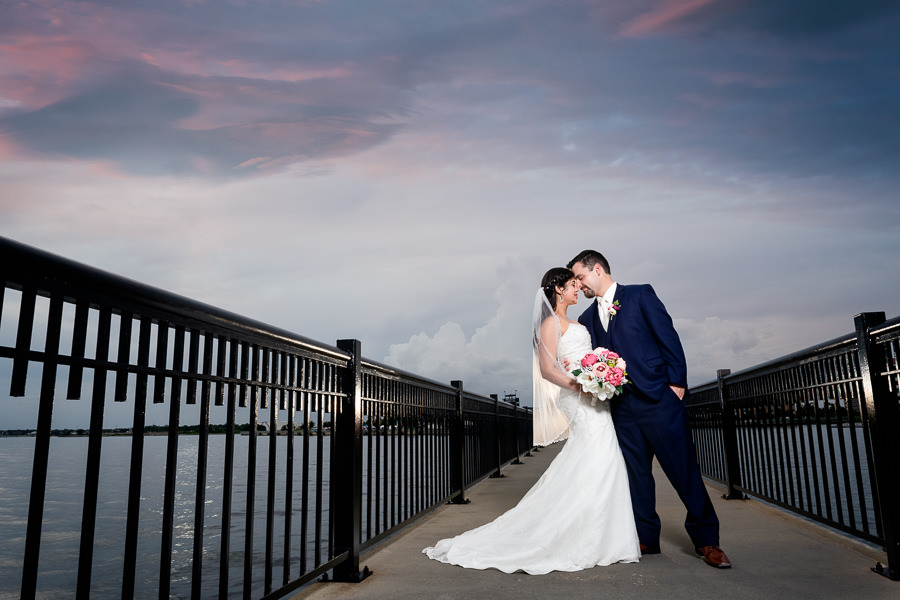 Bride and Groom head to head on the Palafox Pier, Pensacola Summer Wedding, Lazzat Photography