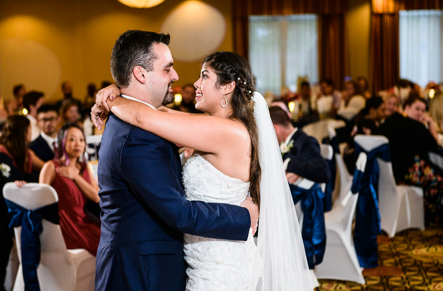 Bride and Groom's first dance, Hilton Garden Inn Pensacola Airport, Pensacola Summer Wedding, Lazzat Photography