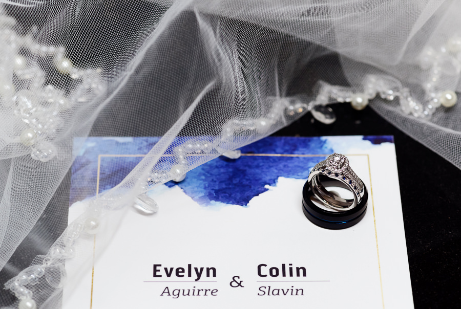 Bride and Groom's wedding rings on invitation, Hilton Garden Inn Pensacola Airport, Pensacola Summer Wedding, Lazzat Photography