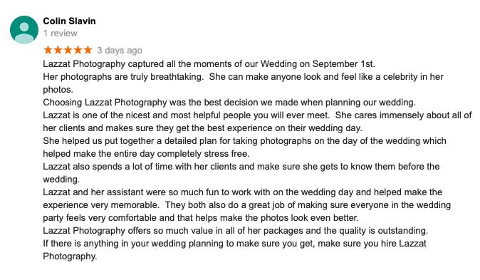 Colin Slavin review, Pensacola Summer Wedding, Lazzat Photography