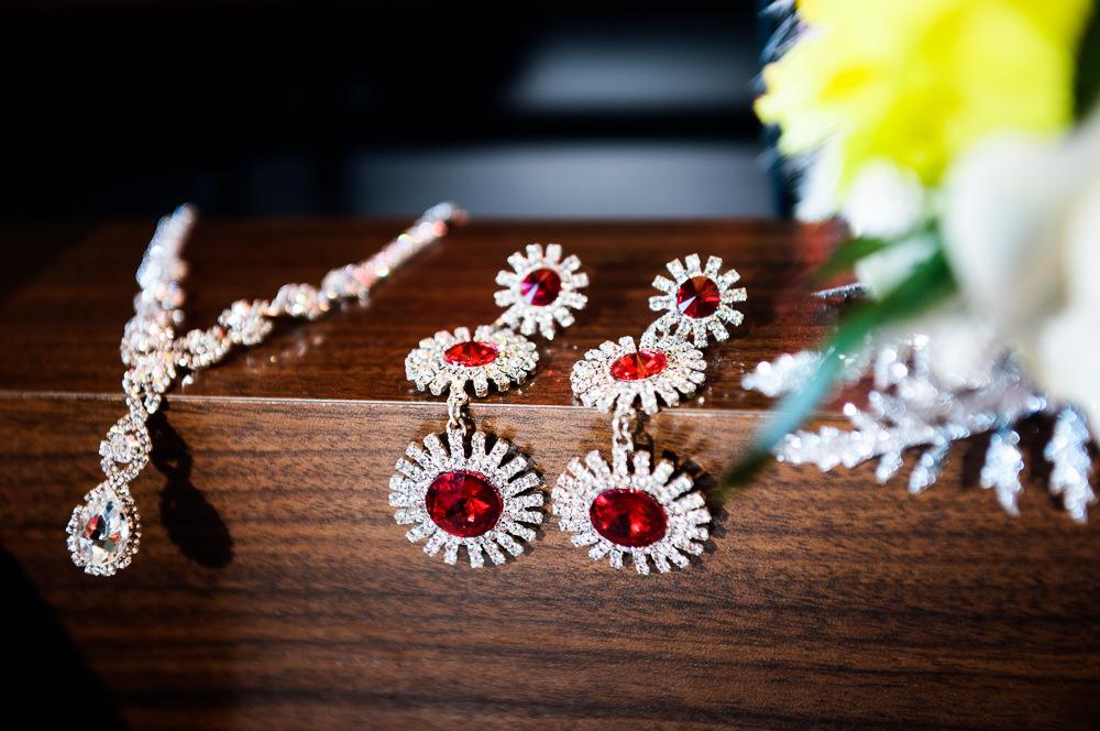 Bride's red glitter jewelry, Royal Red Destination Wedding, Florida wedding photographer, Lazzat Photography