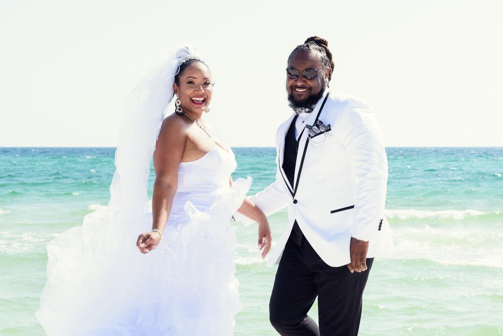 Bride and Groom on the beach, Royal Red Destination Wedding, Florida wedding photographer, Lazzat Photography