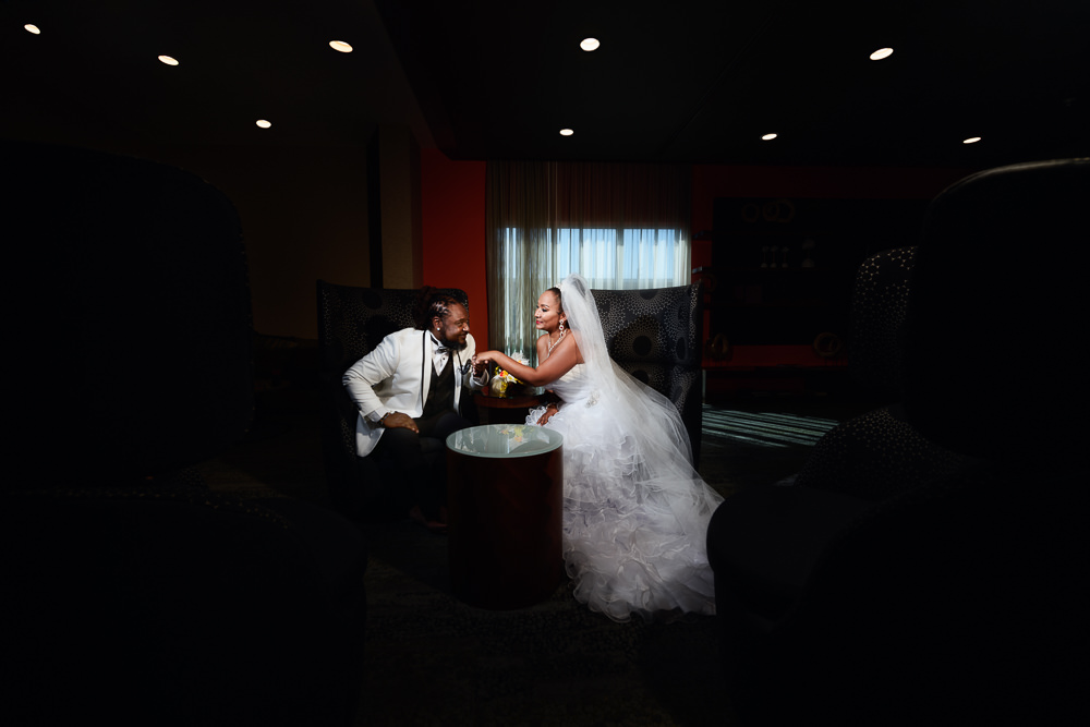 Bride and Groom having a private moment after their first look, Royal Red Destination Wedding, Florida wedding photographer, Lazzat Photography