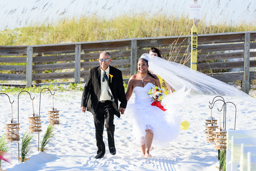 Father of the Bride walking her down the aisle, high low wedding dress, red and yellow wedding, Royal Red Destination Wedding, Florida wedding photographer, Lazzat Photography