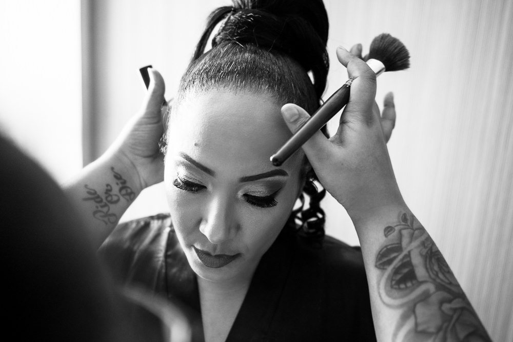 Bride getting her makeup done, black and white, Royal Red Destination Wedding, Florida wedding photographer, Lazzat Photography