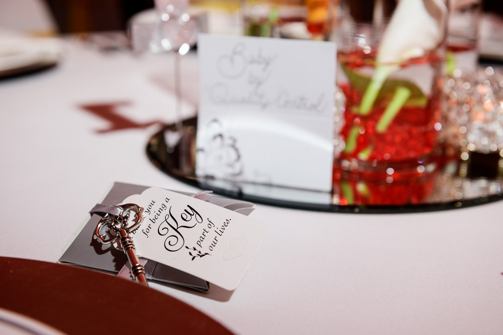 Wedding favors with ornate key, reception at the event room, Royal Red Destination Wedding, Florida wedding photographer, Lazzat Photography
