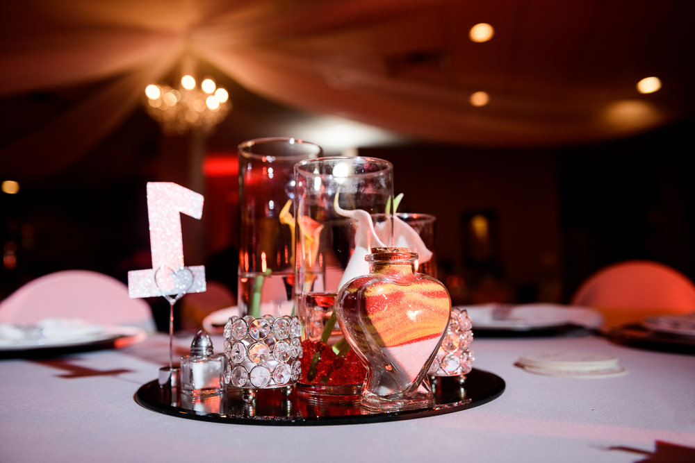 Wedding center pieces with unity sand, reception at the event room, Royal Red Destination Wedding, Florida wedding photographer, Lazzat Photography