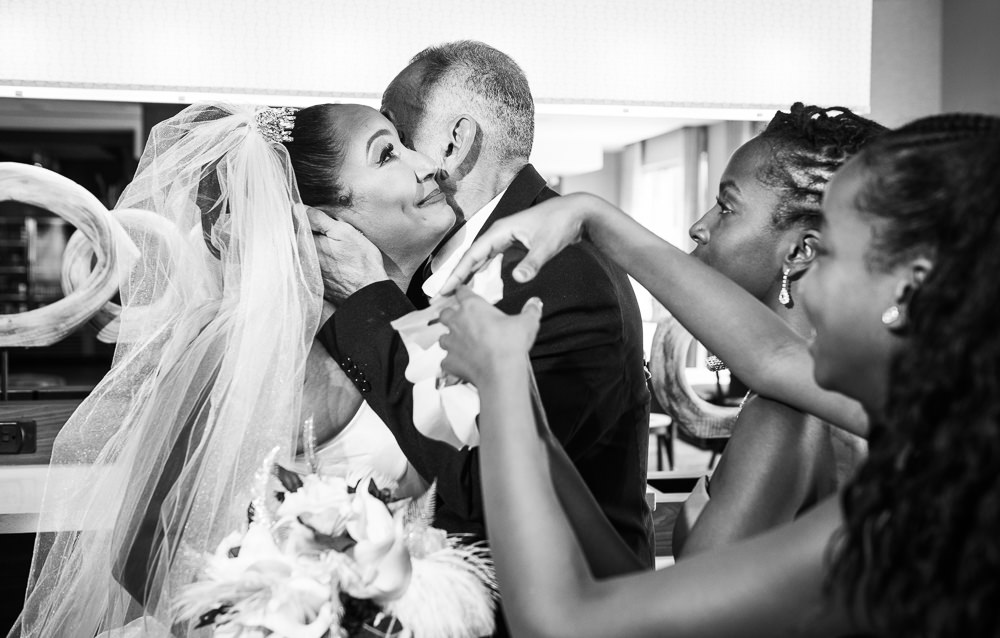 Bride's first look with dad, black and white, Royal Red Destination Wedding, Florida wedding photographer, Lazzat Photography