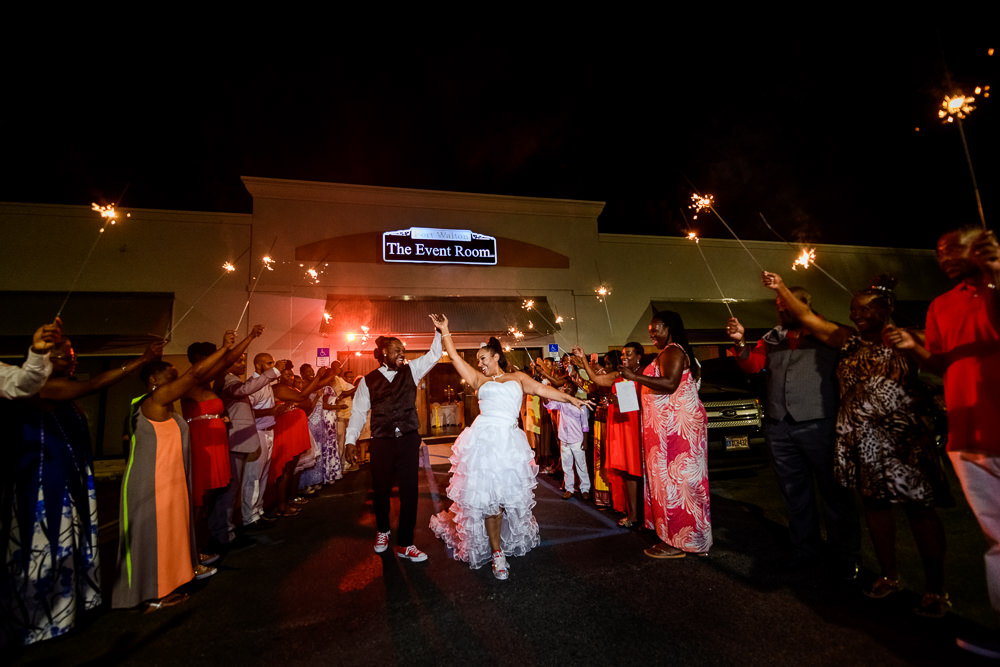 Bride and Groom dancing during their sparkler exit at the event room, Royal Red Destination Wedding, Florida wedding photographer, Lazzat Photography