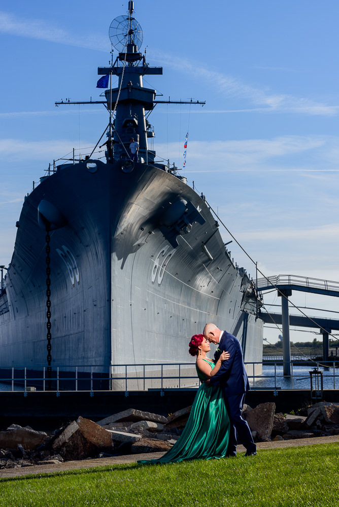 Couple in front of navy ship, green formal gown, pink hair, EPIC couple shoot, Lazzat Photography