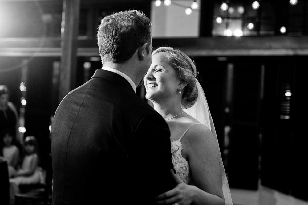 Bride and Groom during first dance, black and white, Palafox Wharf Pensacola Wedding, Orlando Florida Wedding photographer, Lazzat Photography