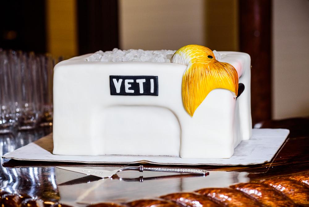 Yeti cooler Groom's cake with yellow fish, Palafox Wharf Pensacola Wedding, Orlando Florida Wedding photographer, Lazzat Photography