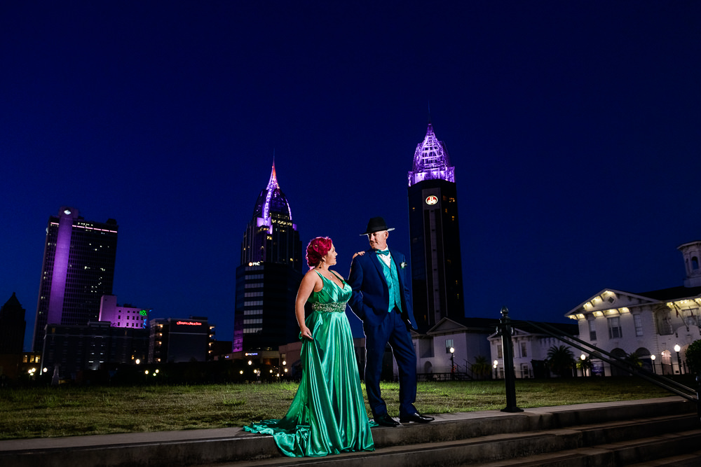 Couple on an evening stroll, Mobile skyline, green formal gown, pink hair, EPIC couple shoot, Lazzat Photography