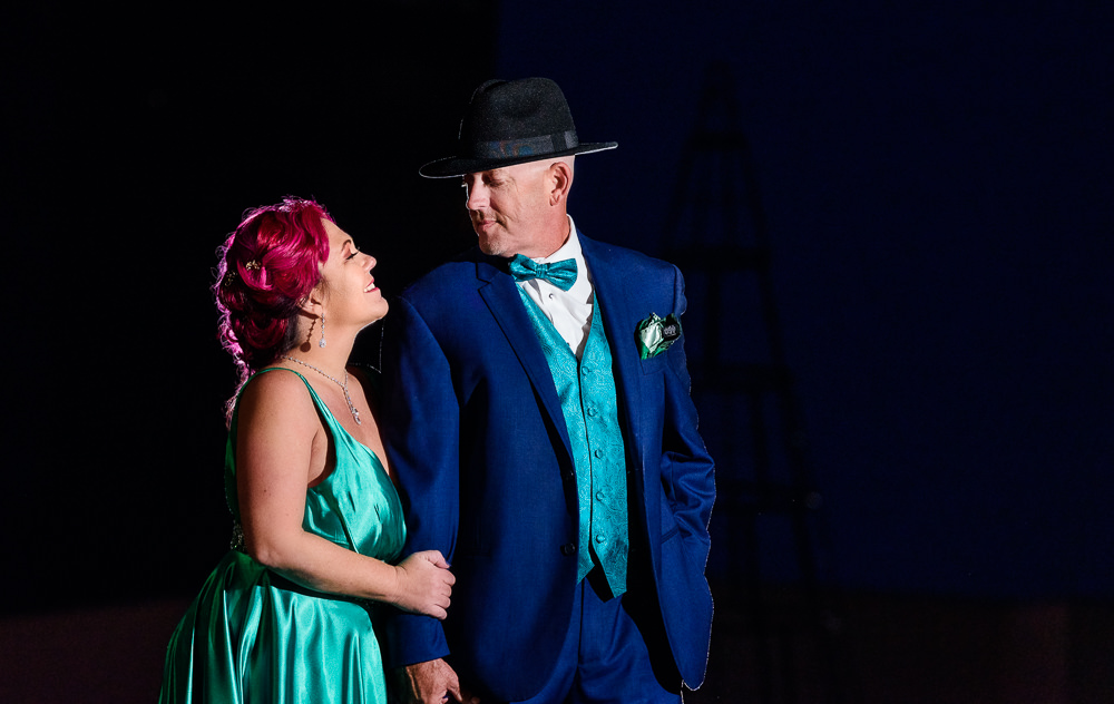 Couple smiling at each other, green formal gown, pink hair, EPIC couple shoot, Lazzat Photography