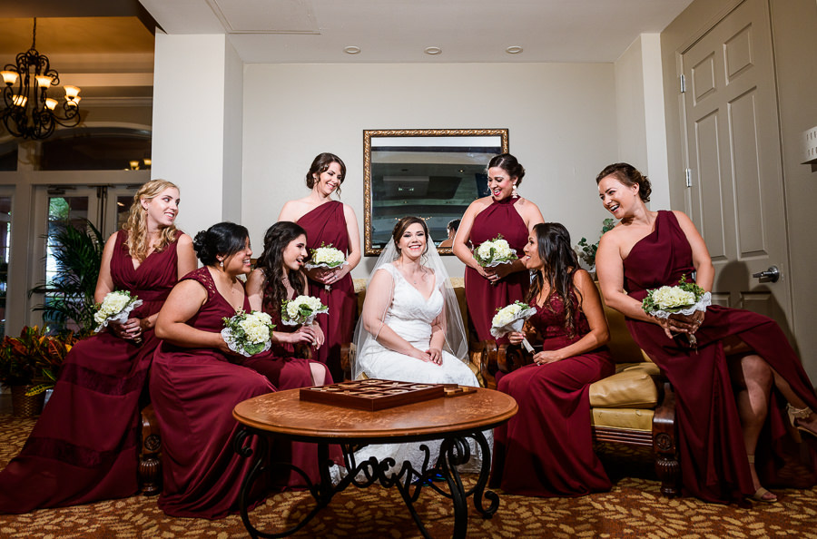Bride with her Bridesmaids, burgundy bridesmaids dresses, lace wedding dress, multicultural filipino wedding, Catholic country club wedding, Pensacola Florida, Lazzat Photography
