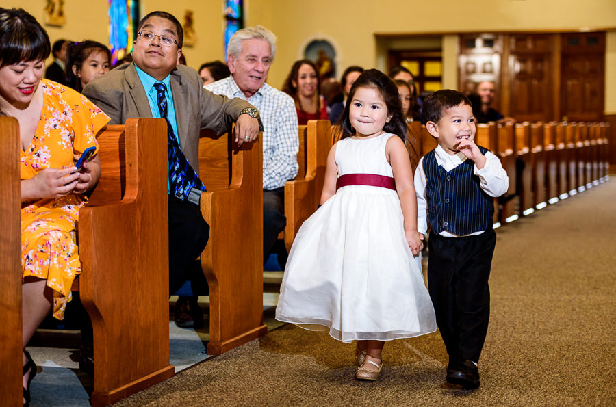 Ring bearer and flower girl walking down the aisle, multicultural filipino wedding, Catholic country club wedding, Pensacola Florida, Lazzat Photography