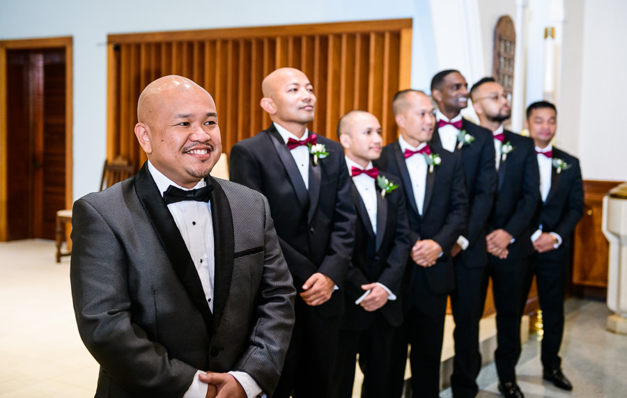 Groom seeing his Bride walk down the aisle, multicultural filipino wedding, Catholic country club wedding, Pensacola Florida, Lazzat Photography