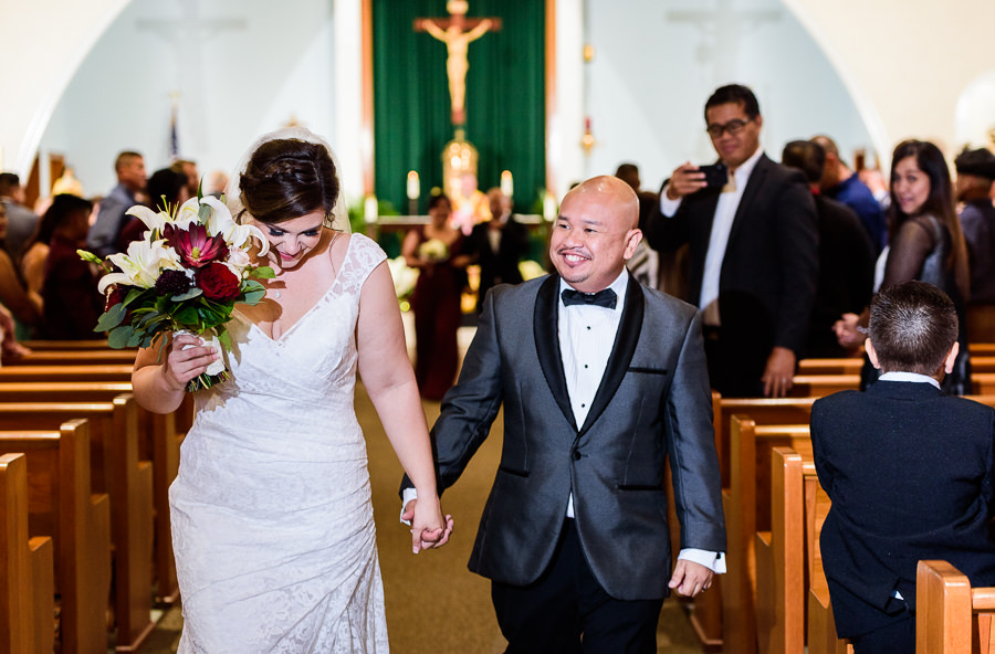 Bride and Groom walking down the aisle, multicultural filipino wedding, Catholic country club wedding, Pensacola Florida, Lazzat Photography