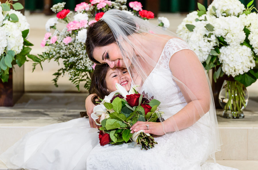 Bride with her daughter, multicultural filipino wedding, Catholic country club wedding, Pensacola Florida, Lazzat Photography