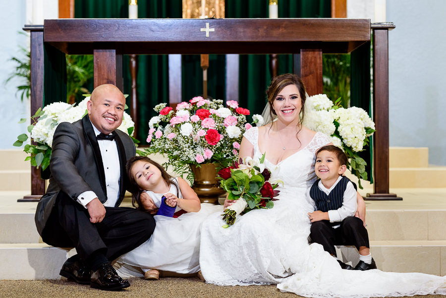 Bride and Groom with their kids, multicultural filipino wedding, Catholic country club wedding, Pensacola Florida, Lazzat Photography